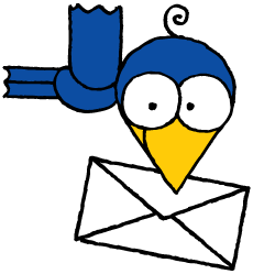 Bird with envelope in mouth